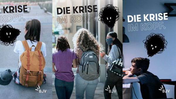 """Plakate der Bundesjugendvertretung """"Krise im Kopf"""" zur psychsichen Gesundheit von Kindern udn Jugendlichen, die durch die Pandemie stark beeinträchtigt wurde/wird"""