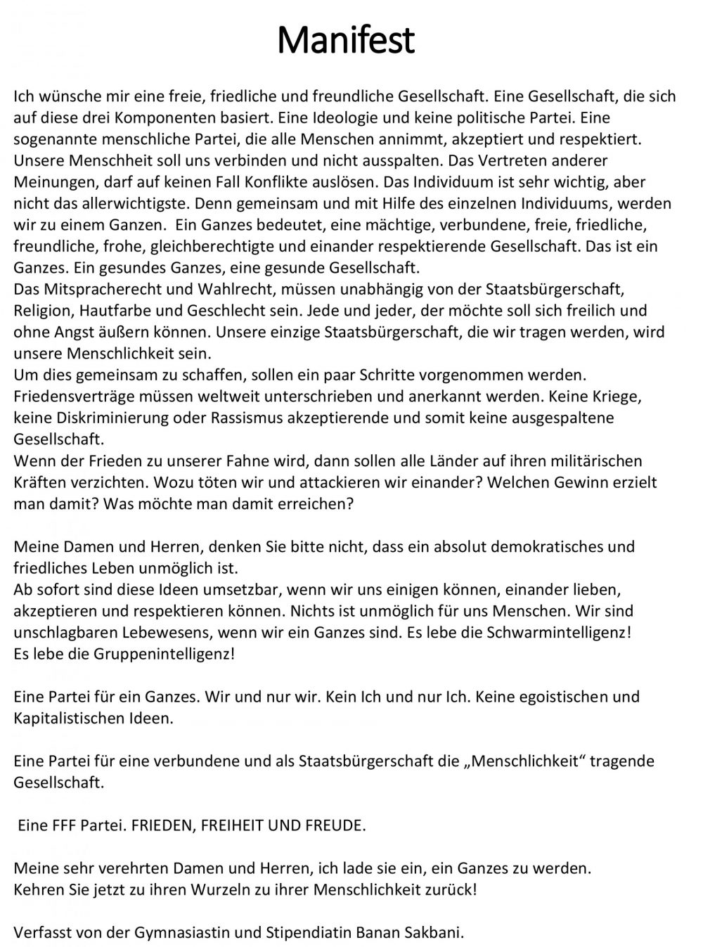Manifest von Banan Sakbani