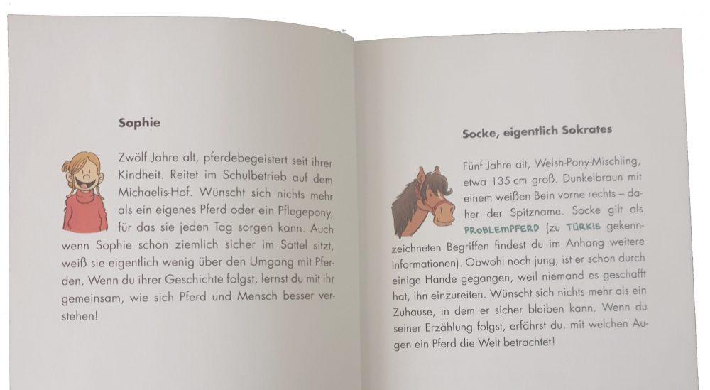 """Doppelseite aus Juli Zehs """"Socke und Sophie"""""""
