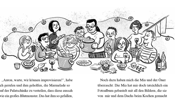 """Doppelseite aus dem Buch """"Qualle in der Küche"""""""