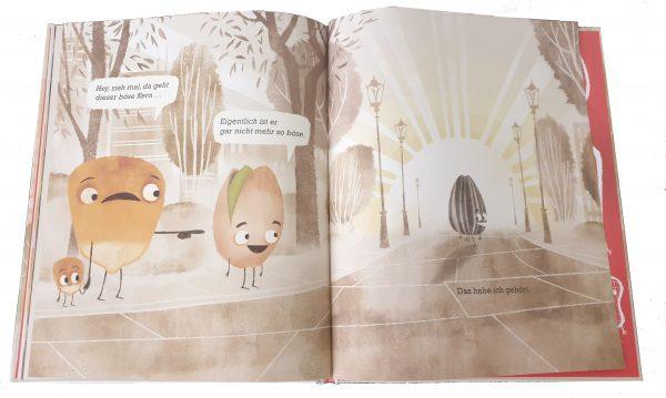 """Doppelseite aus dem Bilderbuch """"Der böse Kern"""""""