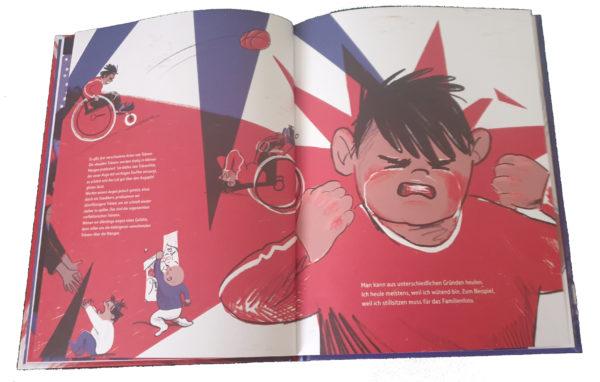 """Doppelseite aus dem Buch """"Heul doch!"""", wütender Bub groß im Bild"""