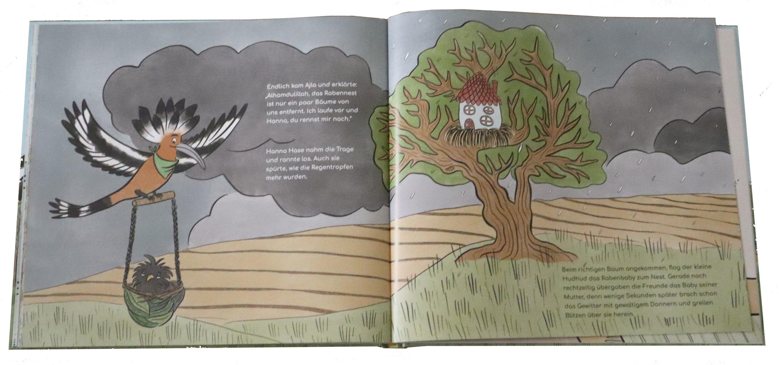 """Doppelseite aus dem Bilderbuch """"Der kleine Hudhud will kein Vogel mehr sein"""