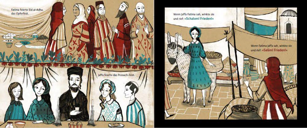 """Doppelseite aus dem Bilderbuch """"Jaffa und Fatima – Schalom, Salaam"""""""