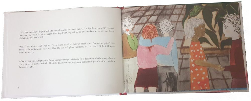 "Doppelseite aus dem Buch ""Lisas Lavaeishöhle"""