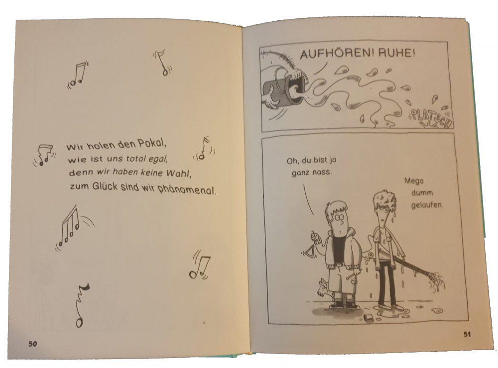 """Doppelseite aus dem Comic-Roman """"Mega dumm gelaufen"""""""