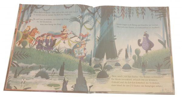 """Doppelseite aus dem Bilderbuch """"Der Sumpfkönig"""""""