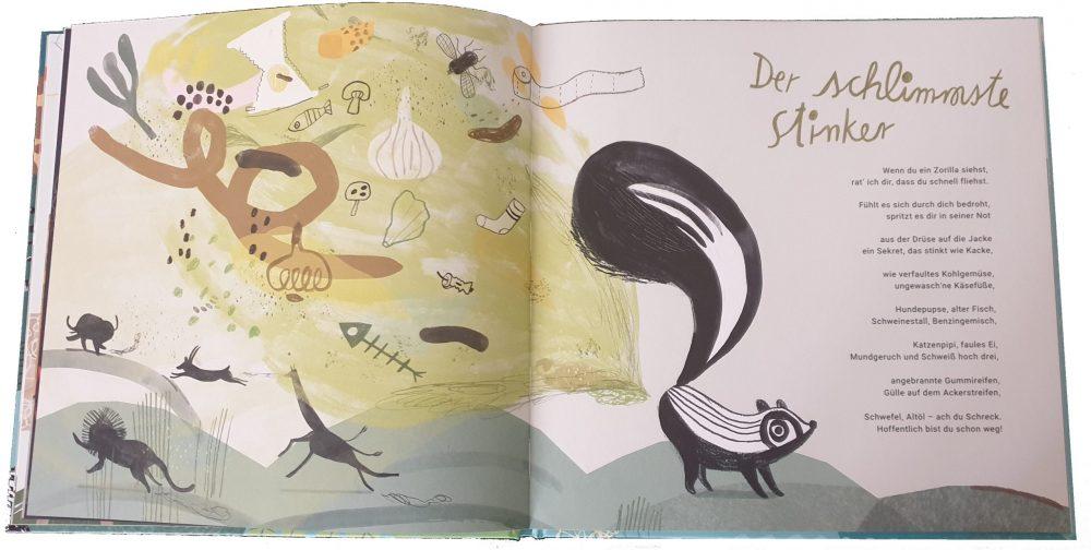 """Doppelseite aus dem Bilderbuch """"Wer besser spinnt, gewinnt"""" - hier das Stinktier Zorilla"""