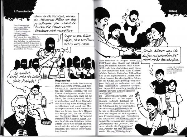"""Doppelseite aus dem Buch """"Kleine Geschichte des Zapatismus"""""""