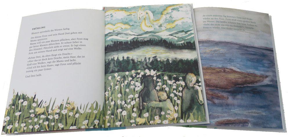 """Doppelseiten aus den Büchern """"Wolkendrache"""" und """"Baumstammkrokodil"""""""