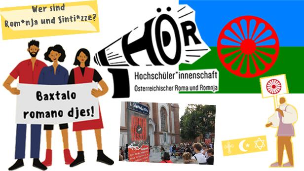 Montage aus einem Foto, Grafiken und einer Roma-Fahne