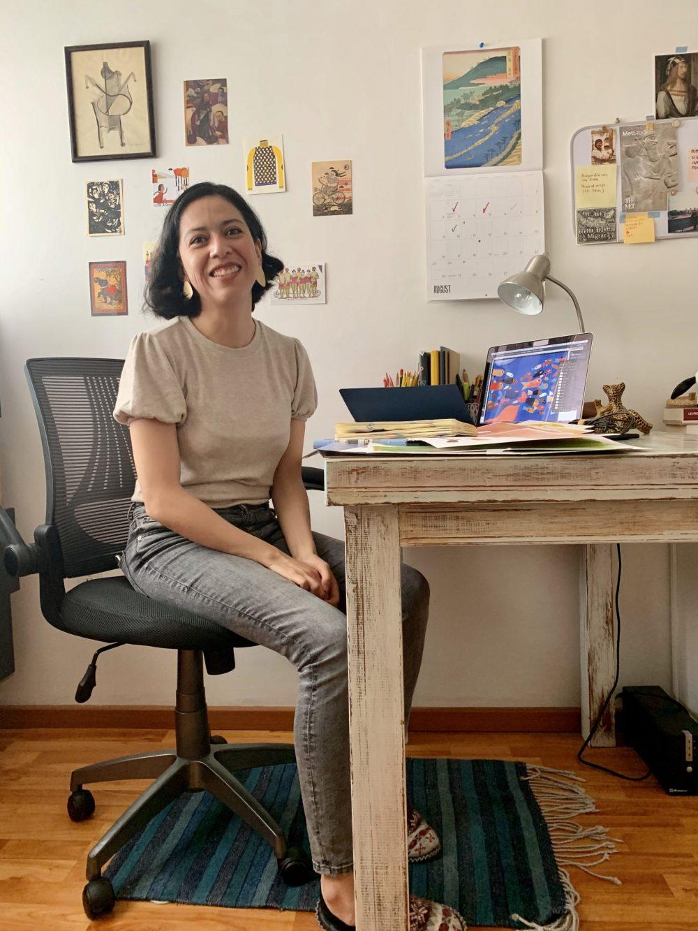 Die Illustratorin an ihrem Zeichenplatz