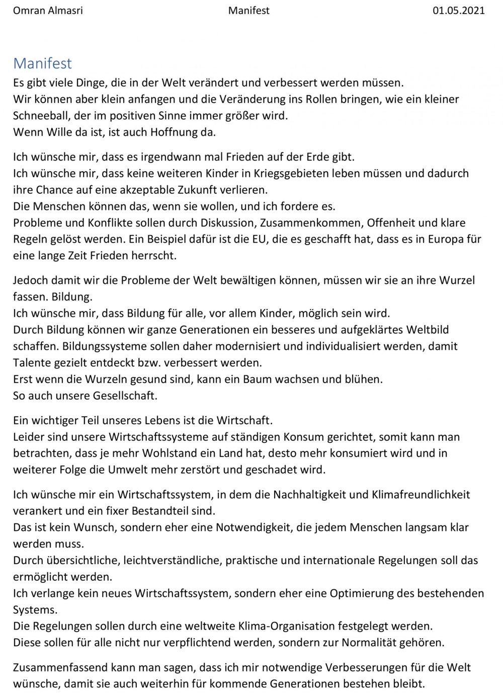 Manifest von Omran Almasri