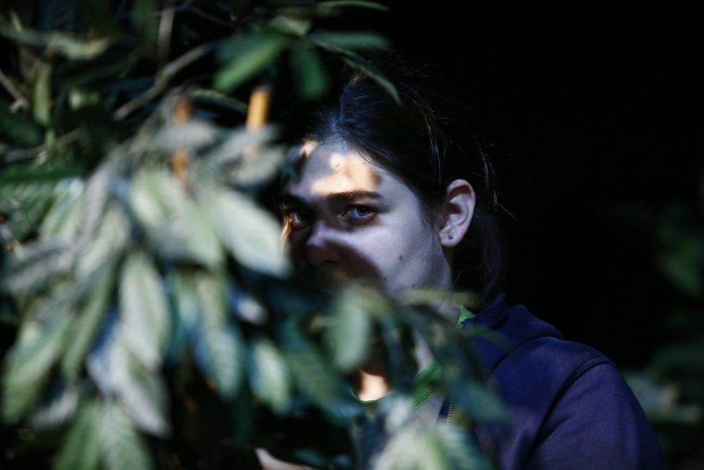 Sujetfoto für die Sommer-Theaterwerkstatt, Mädchen schaut zwischen Zweigen hervor