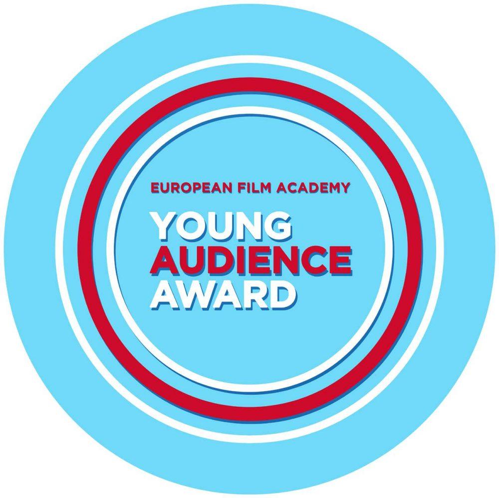 Kreisrundes Logo für den Preis des jungen Publikums mit dem englischen Schriftzug dafür