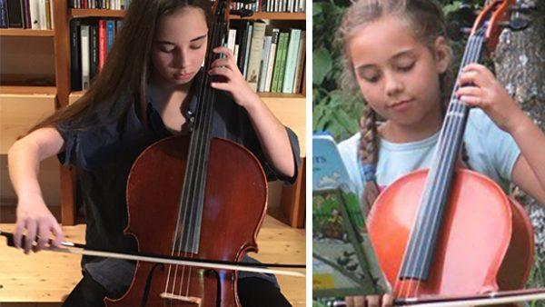 Mädchen spielt Cello - zwei Fotos: rechts das aktuelle aus 2021, links eines aus dem Jahre 2017