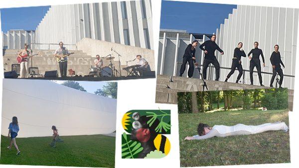 Vier Fotos - eines von einer Band, eines von Schauspieler*innen, eines von einer Schnecken-Performerin und eines von Kindern bei einem riesigen Luftobjekt und das Logo von Schäxpir 2021