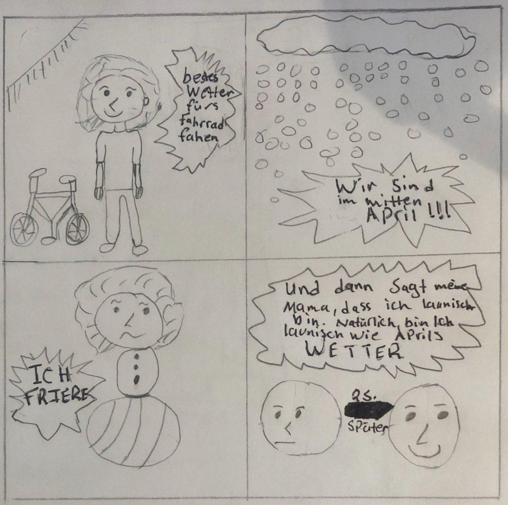 Vier Comic-Bilder über April-Wetter