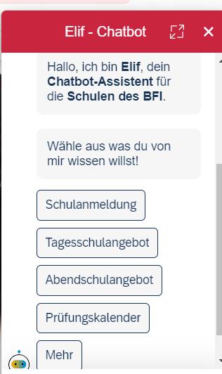 Der Chatbot der Schul-Homepage des BFI wien