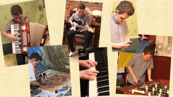 Bildmontage aus Fotos auf denen der Jugendliche malt und musiziert