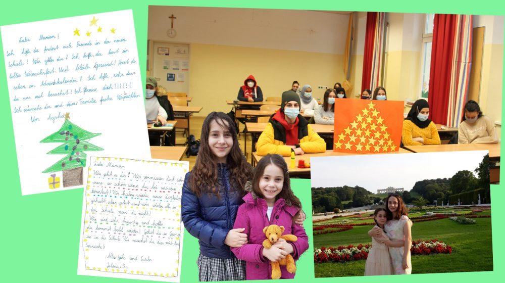 Bildmontage aus Fotos von Ana und Mariam und Briefen ihrer Mitshüler*innen