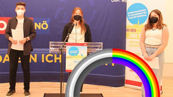 Trio aus der Mittelschule Ebenfurth beim Redebewerb und grauer sowie bunter Regenbogen