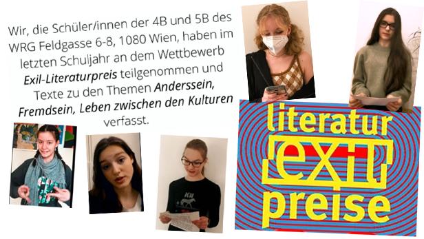 Bildmontage aus Bildern von Jugendlichen, der Titelseite des Sammelbandes und einen Schriftplakat der Schule