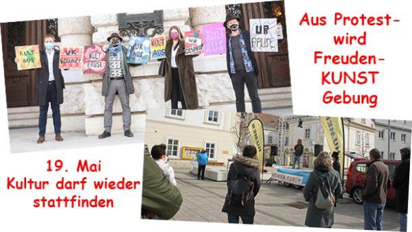 2 Fotos, auf einem 4 Menschen mit Protestafeln gegen die Sperre von Kultur; auf dem anderen Publikum auf der Straße vor einer kleinen Bühne