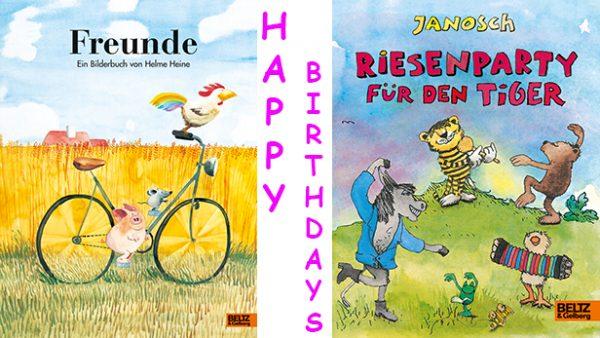 """Titelseite der beiden Bilderbücher """"Freunde"""" und """"Riesenparty für den Tiger"""" und Schriftzug Happy Birthdays"""