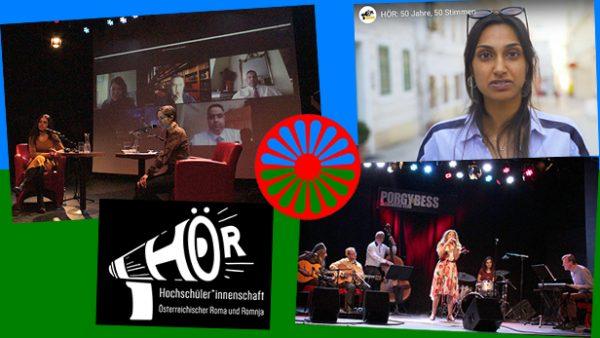 Bildmontage aus Fotos von der Diskussion, vom Konzert und aus einem Video zur Gründung der HÖR, deren Logo und der Roma-Fahne