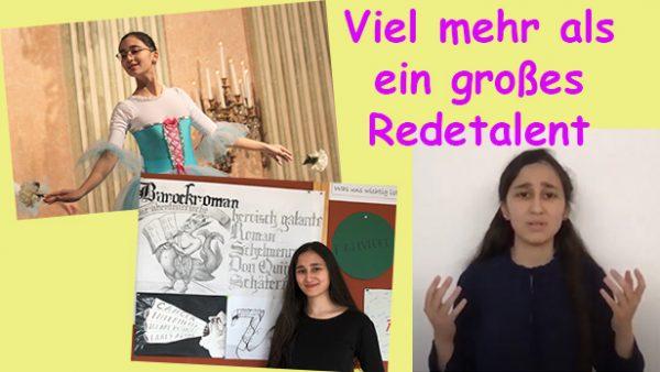 Bildmontage aus Fotos der jungen Rednerin auch als zeichnerin und Tänzerin