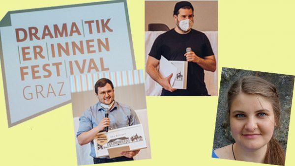Bildmontage: Drei Porträtfotos der Sieger:innen: Till Wiebel, Johannes Hoffmann und Lisa Wentz sowie das Logo des Dramatiker*innen-Festivals