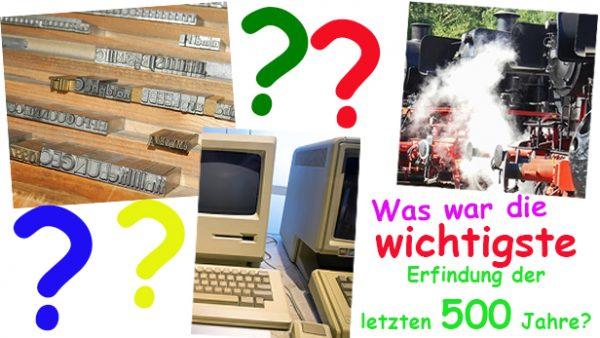 Bildmontage aus Lettern in einer buchdruckerei, einer Dampflokomotive, einem alten Computer und Fragezeichen