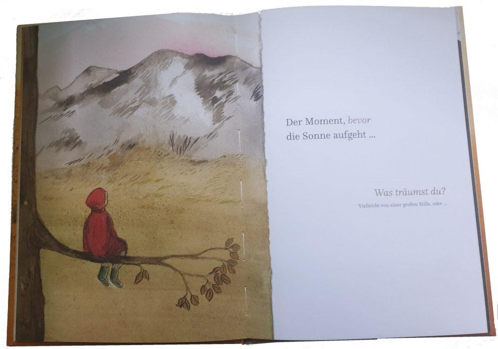 """Doppelseite aus dem Bilderbuch """"Der Moment, bevor ..."""""""