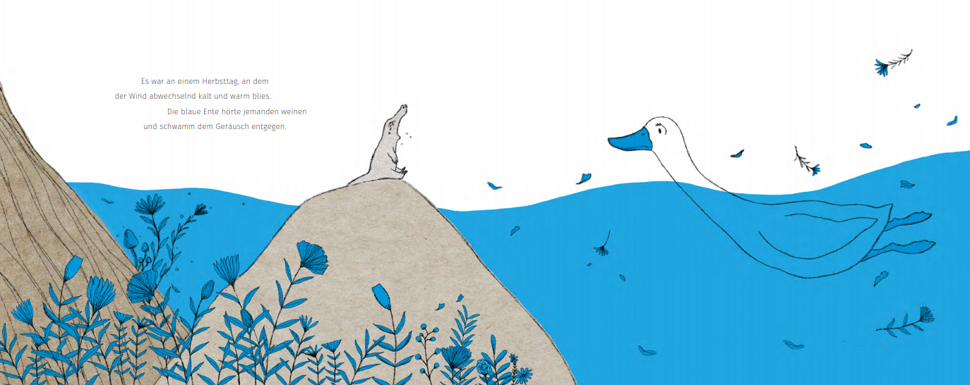"Doppelseite aus dem Bilderbuch ""Entenblau"""