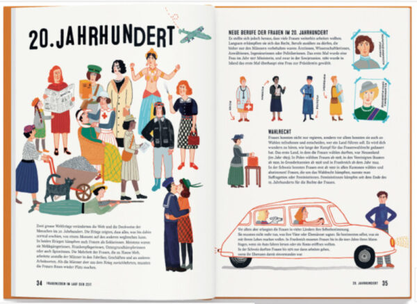 """Doppelseite aus dem Bilderbuch """"Frauenleben im Lauf der Zeit"""""""