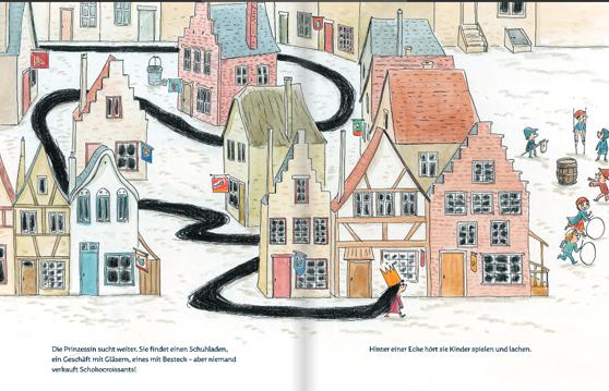"""Doppelseite aus dem Bilderbuch """"Ich will ein Schokocroissant.Sofort!"""""""