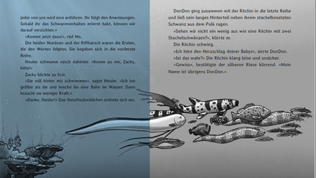 """Doppelseite aus dem Buch """"Survivors – Die Flucht beginnt"""""""