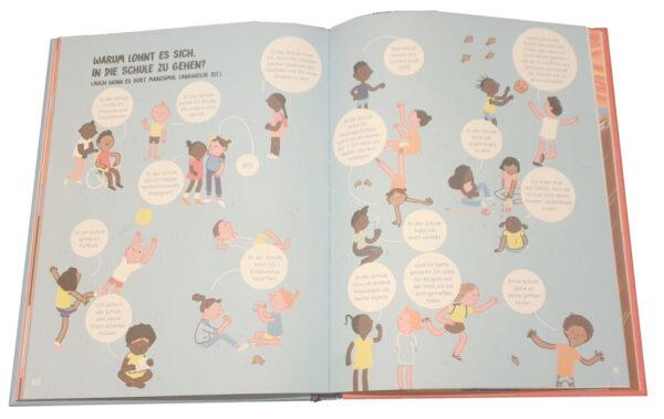"""Doppelseite aus dem Bilderbuch """"Wer hat eigentlich die Schule erfunden?!"""""""