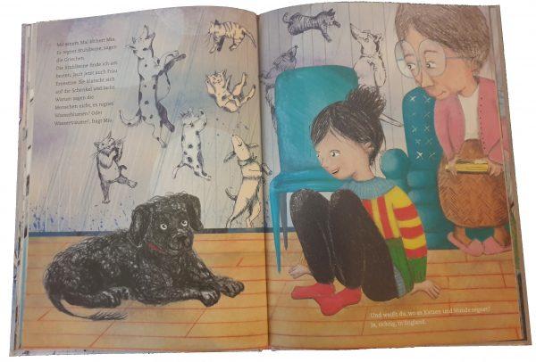 """Doppelseite aus dem Bilderbuch """"Weißt du, wo es Katzen und Hunde regnet"""""""