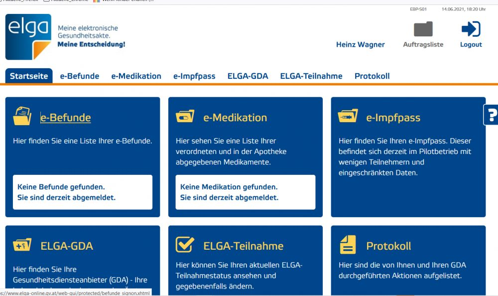 Screenshots von Seiten auf dem Weg zum elektronischen Impfpass