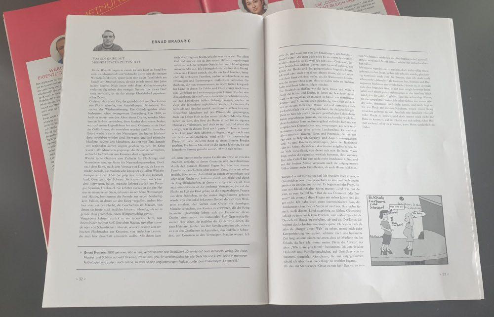 Doppelseite einer Zeitschrift mit dem Text eines Jugendlichen