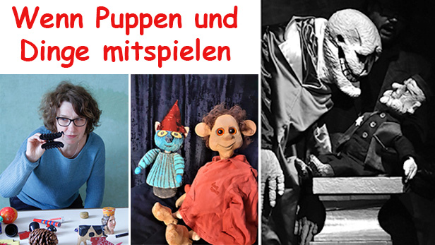 Montage aus drei Fotos dreier Figurentheaterstücke