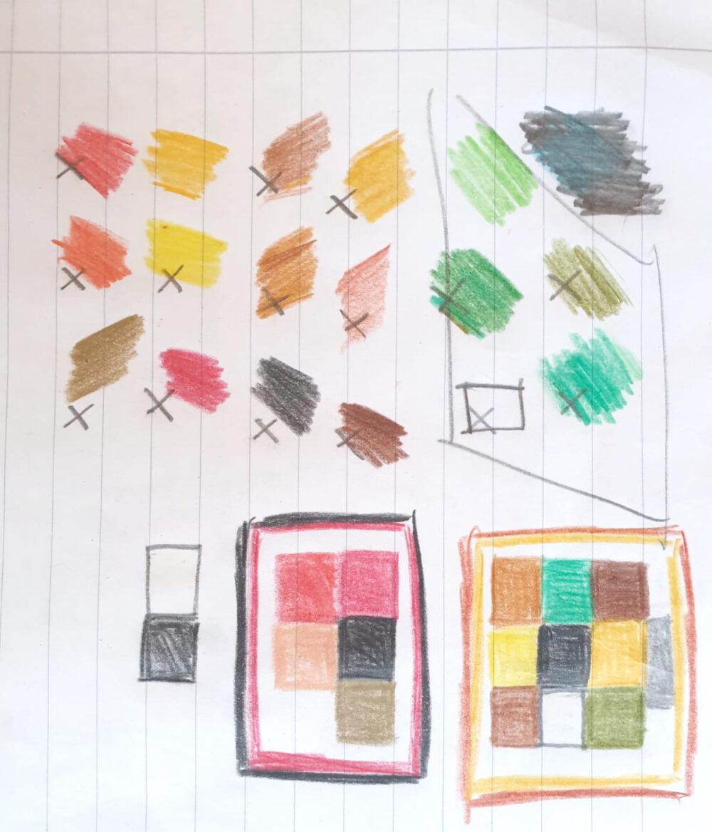 Skizzen der Farbkompositionen