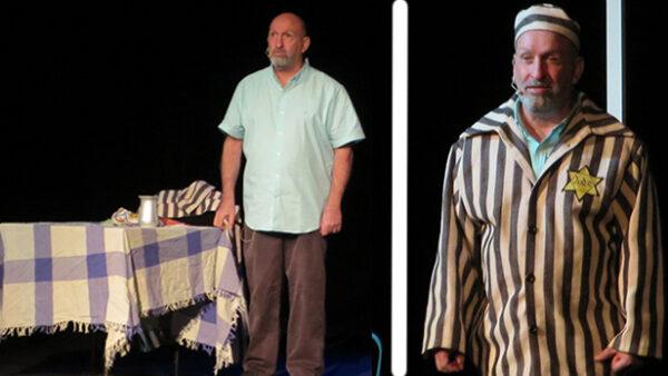 Schauspieler Hesi Heliyou in zwei verschiedenen Abschnitten seines Stücks