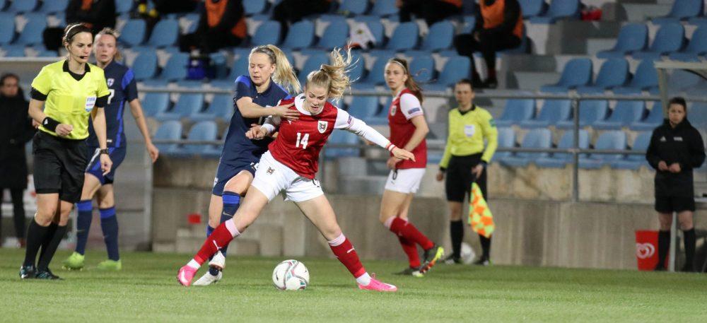 Marie Höbinger im Einsatz beim letzten Länderspiel gegen Finnland