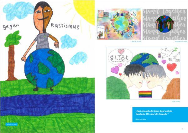 Mehrere Zeichnungen auf einer Doppelseite des Ideenkatalogs gegen Rassismus, für ein gemeinsames Miteinander auf der Welt und Frieden