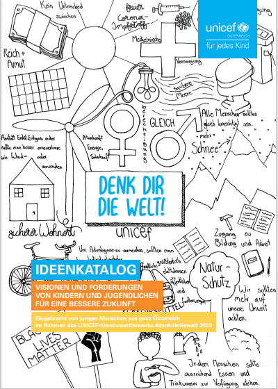 Titelseite des Ideenkatalogs - Schwarz-Weiß-Zeichnung mit vielen Symbolen zu wichtigen Themen - Sonne, Windkraft, Fahrrad, Frauen- und Männerzeichen und der Schrift: