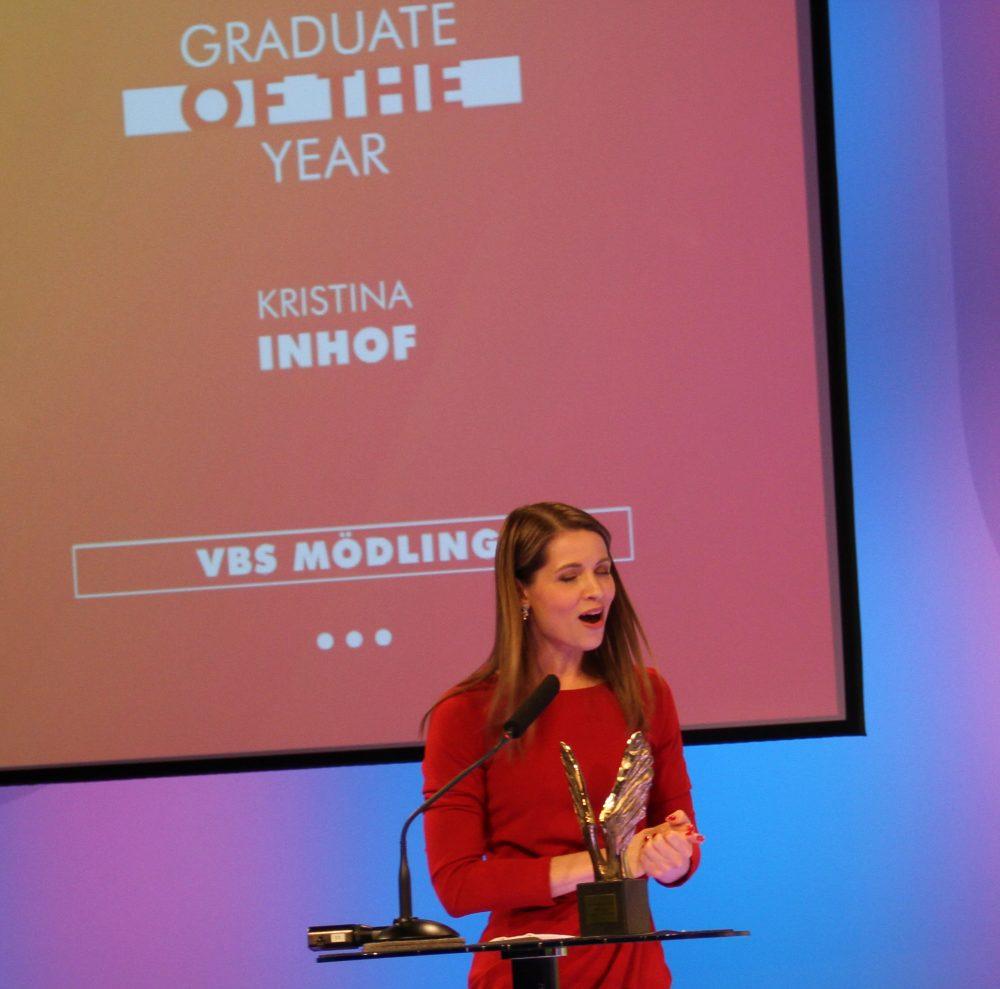 Kristina Inhof, ORF-Moderatorin, mit dem Merkur als beste Absloventin