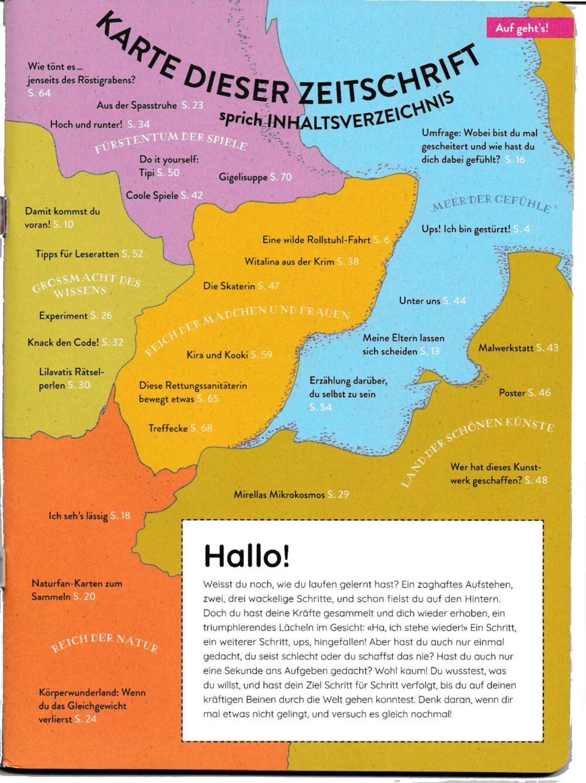 Inhaltsverzeichnis in Landkartenform von Kaleio Nr. 4